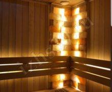 Отделка для бани и сауны: материал красный канадский кедр гималайская соль освещение led фото