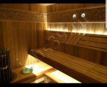Баня: материал красный канадский кедр печь helo освещение - фото