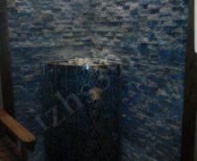 Баня: плитка рваный камень талькохлорит , печь iki