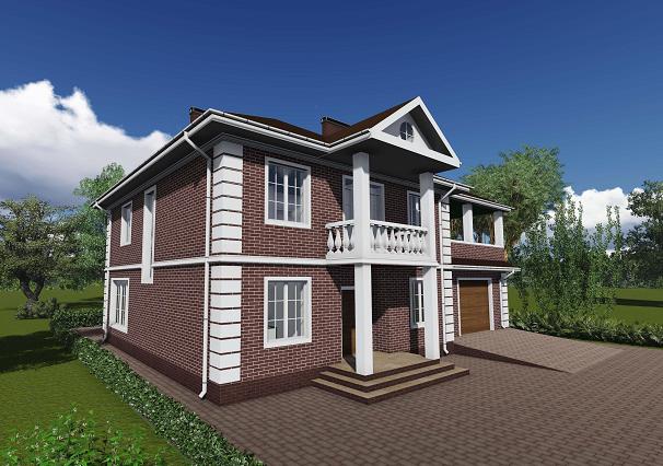 Проект двухэтажного дома. Проекты домов в Калининграде. Строительство домов в Калининграде. Строительная компания. Купить проект дома, коттеджа. Заказать дом.