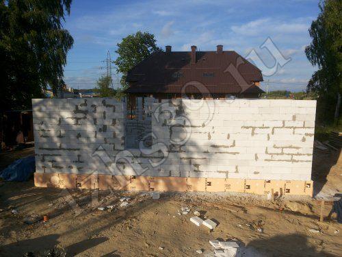 возведение стен первого этажа из газосиликатных блоков