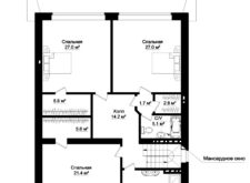 Проект одноэтажного дома с мансардой. Поэтажные планы, план-схема. Проекты домов в Калининграде, фото. Строительство домов в Калининграде. Строительная компания. Купить проект дома, коттеджа. Заказать дом.
