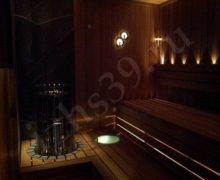 Сауна: отделка из красного канадского кедра, освещение оптоволокно cariiti печь Helo Roshe - фото
