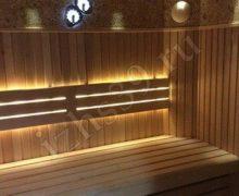 Баня: красный канадский кедр, панели из можжевельника, освещение точечное led - фото работы