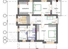 План-схема 2-го этажа дома Балтика. Проект трёхэтажного дома Балтика. Проекты домов. Строительство домов в Калининграде. Строительная компания. Купить проект дома. Заказать дом.