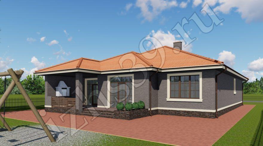 Проект одноэтажного дома. Проекты домов в Калининграде, фото. Строительство домов в Калининграде. Строительная компания. Купить проект дома, коттеджа. Заказать дом.